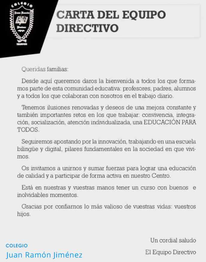 BIENVENIDA DEL EQUIPO DIRECTIVO